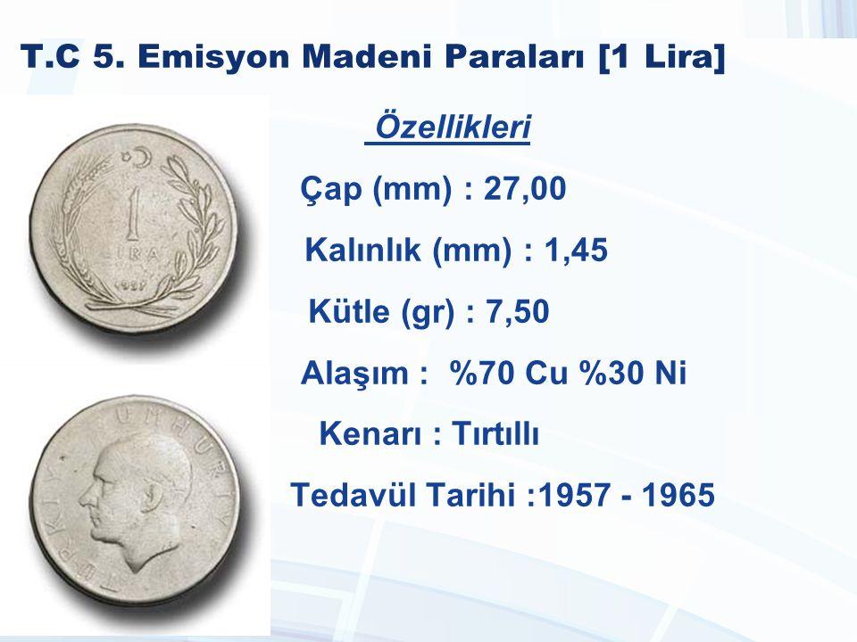 T.C 5. Emisyon Madeni Paraları [1 Lira]